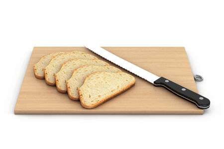 Bread with knife over a wooden board on a white background photo