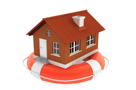 Property concept. House in lifebuoy on a white background photo