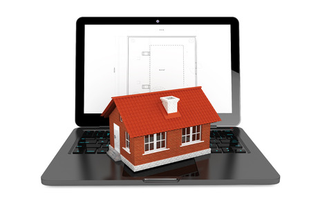 3d House over Laptop with House Project Blueprint on a white background photo