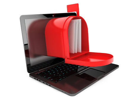 Opened red mail box over laptop screen on a white background photo