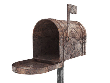 got: Old metal mail box on a white background Stock Photo