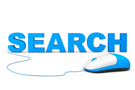 SEO Concept. Search Sign and computer mouse on a white background photo