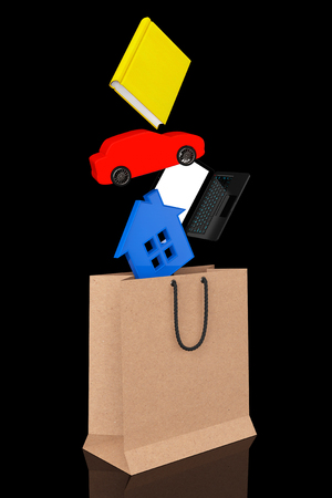 purchase book: Purchase concept. Book, laptop, car and house drop in paper bag on a black background