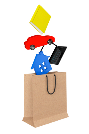 purchase book: Purchase concept. Book, laptop, car and house drop in paper bag on a white background