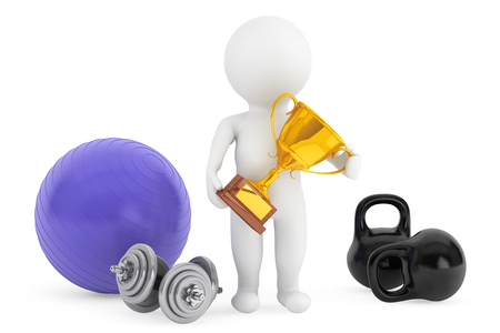 3d person with fitness objects and trophy on a white background photo