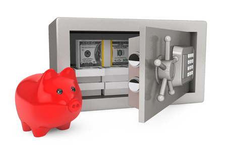 Security metal safe with money and Piggy Bank on a white background photo