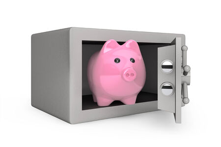 Security metal safe with Piggy Bank on a white background photo