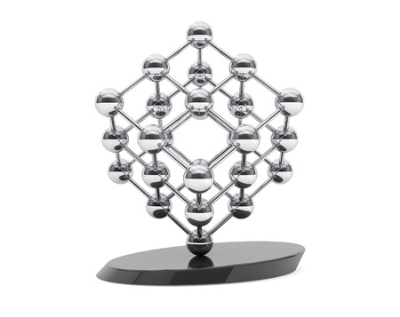 chrome base: 3d molecular structure as cube on a white background