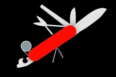 pocket knife: Multipurpose pocket knife. Military red knife on a black background Stock Photo