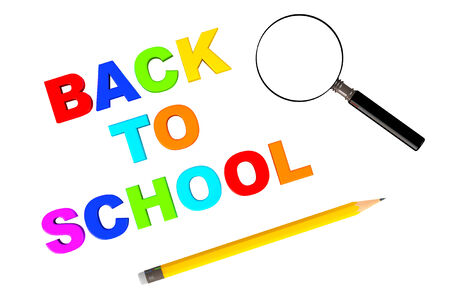 Back to school sign with magnifier and pencil on a white background photo