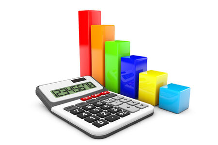 Business Concept. Calculator and colorful chart on a white background photo