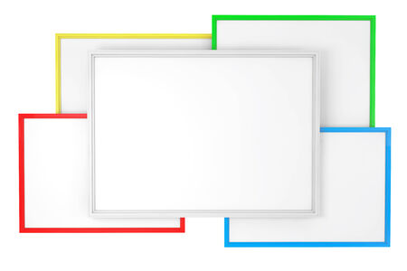 Multicolour Blank Classroom Whiteboards on a white background photo