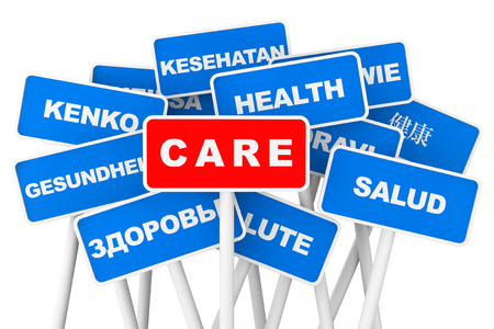 Health Care multilanguages banner signs on a white background