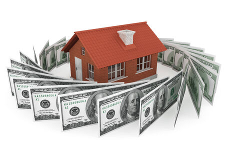 Real estate business concept. Dollars banknotes with Brick House on a white background