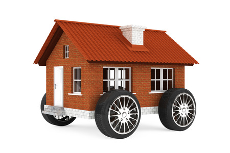 Family house on a wheels on a white background photo