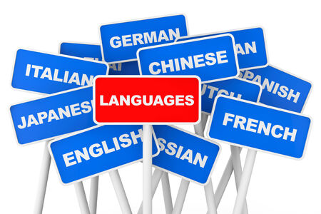Languages banner signs on a white background photo