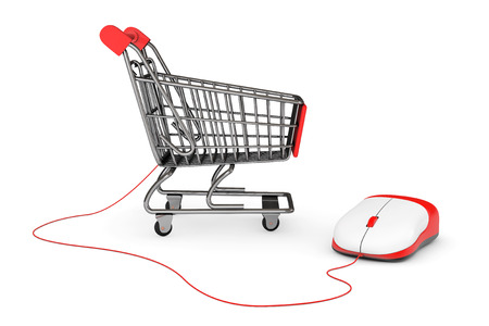 Online Shopping Concept. Shopping Cart connected to a Computer Mouse on a white background photo