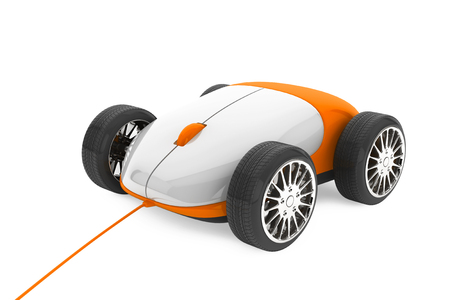 Computer Mouse on a wheels on a white background photo