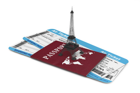 Travel Concept. Airline boarding pass tickets with Eiffel Tower and Passport on a white background photo