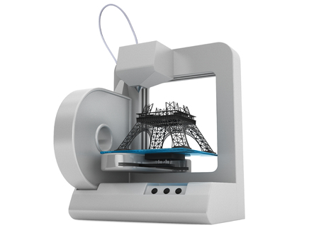 3d printer build Eiffel Tower Model on a white background photo