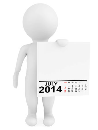 Character holding calendar July 2014 on a white background photo