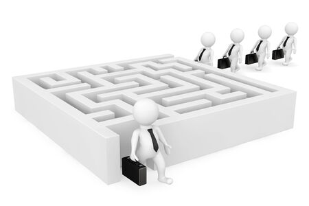 3d businessman persons go to a labyrinth on a white background photo