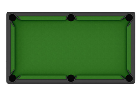 Empty Billiard table on a white background