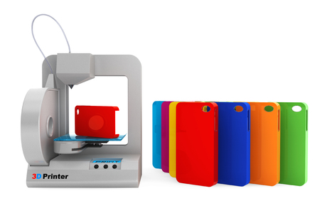 rapid prototyping: Technology concept. Modern Home 3d printer print Multicolour Mobile Phone Covers on a white background