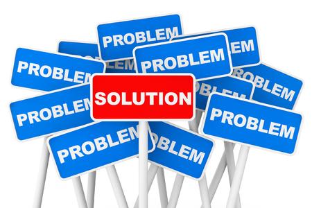 問題と解決策のバナー白い背景の上に署名します。 写真素材