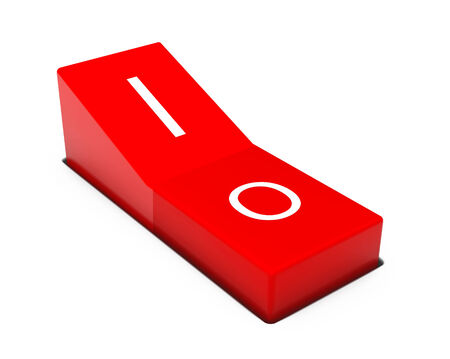 Red power switch on a white background photo