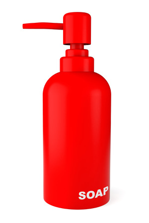 dispenser: Red rubber bottle for liquid soap with dispenser pump on a white background