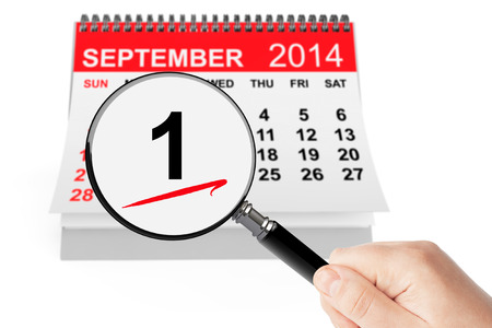 september 1: 1 september Day Concept. 1 september 2014 calendar with magnifier on a white background Stock Photo