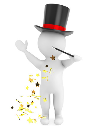 3d man with magic wand and hat on a white background 版權商用圖片