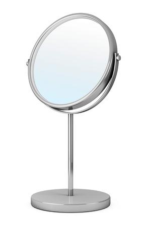 白い背景の上のクロム化粧鏡 写真素材