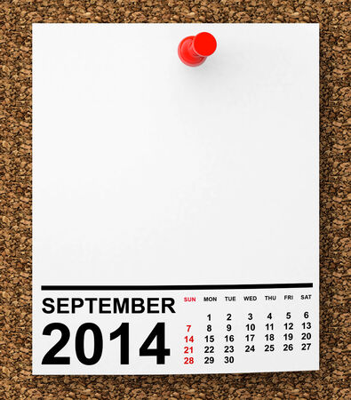 Calendar September 2014 on blank note paper with free space for your text photo
