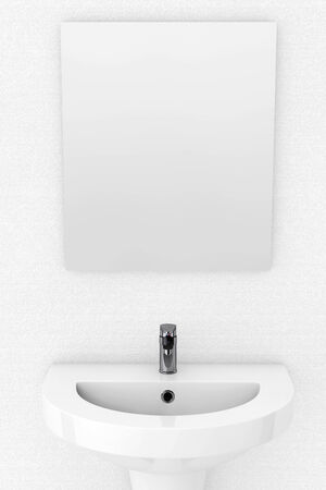 lavabo: Ceramic Washbasin and Mirror in front of a Wall