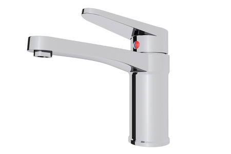 kitchensink: Chrome water supply faucet on a white background