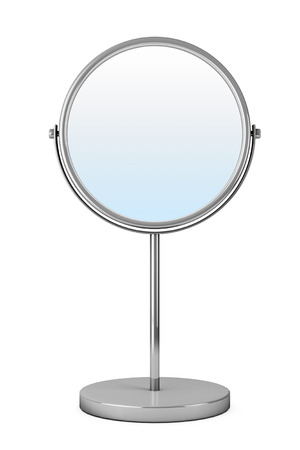 Chrome Makeup Mirror on a white background Stock Photo