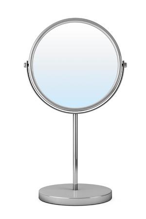 Chrome Makeup Mirror on a white background Archivio Fotografico