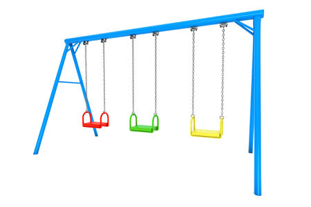 recess: Children colorful playground swing on a white background