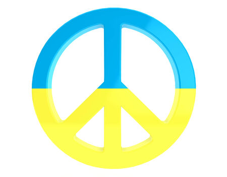 Peace Concept. Peace Sign with Ukraine flag on a white background