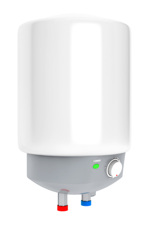 Modern Automatic Water Heater on a white background photo
