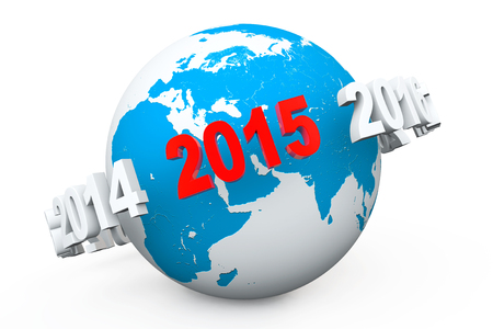 New Year Concept. 3d number 2015 around earth globe on a white background photo