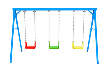 Children colorful playground swing on a white background photo