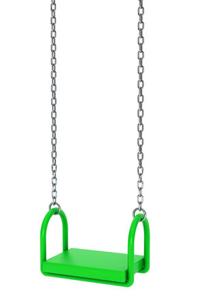 Children green playground swing on a white background