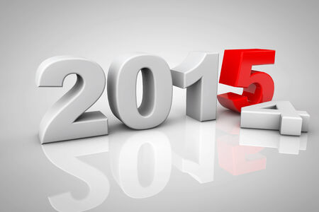New Year 2015 3d Sign on a grey background photo