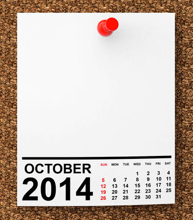 Calendar October 2014 on blank note paper with free space for your text photo