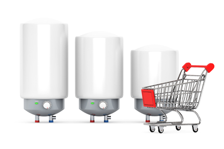 Three Modern Automatic Water Heaters with Shopping Cart on a white background photo