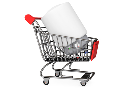 Modern Automatic Water Heater in Shopping Cart on a white background photo