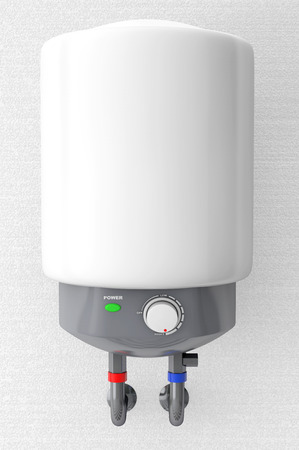 thermodynamic: Modern Automatic Water Heater on a wall background Stock Photo